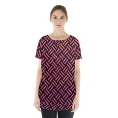 Woven2 Black Marble & Red Colored Pencil (r) Skirt Hem Sports Top