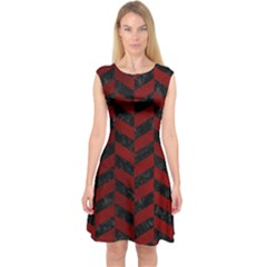 Chevron1 Black Marble & Red Grunge Capsleeve Midi Dress