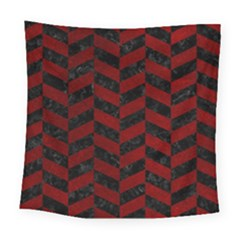 Chevron1 Black Marble & Red Grunge Square Tapestry (large) by trendistuff