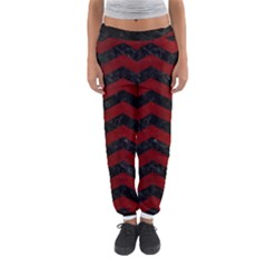 Chevron3 Black Marble & Red Grunge Women s Jogger Sweatpants