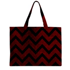 Chevron9 Black Marble & Red Grunge Zipper Mini Tote Bag by trendistuff