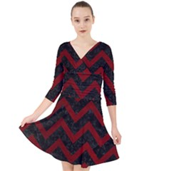 Chevron9 Black Marble & Red Grunge (r) Quarter Sleeve Front Wrap Dress