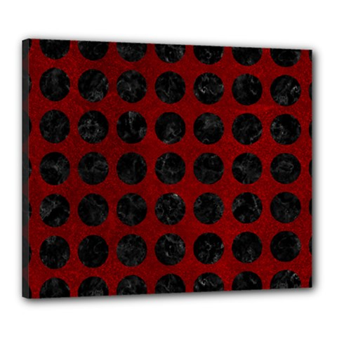 Circles1 Black Marble & Red Grunge Canvas 24  X 20  by trendistuff