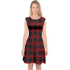 Circles1 Black Marble & Red Grunge Capsleeve Midi Dress