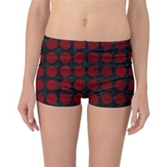Circles1 Black Marble & Red Grunge (r) Reversible Boyleg Bikini Bottoms