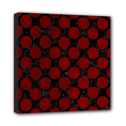 Circles2 Black Marble & Red Grunge (r) Mini Canvas 8  X 8  by trendistuff