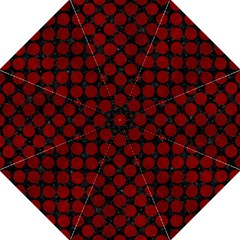 Circles2 Black Marble & Red Grunge (r) Folding Umbrellas by trendistuff