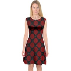 Circles2 Black Marble & Red Grunge (r) Capsleeve Midi Dress