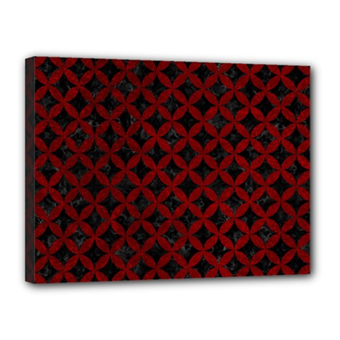 Circles3 Black Marble & Red Grunge (r) Canvas 16  X 12  by trendistuff