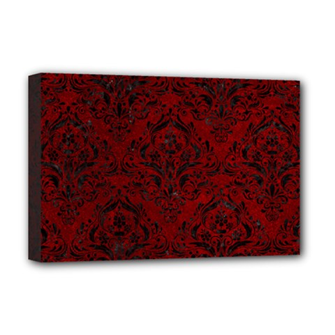 Damask1 Black Marble & Red Grunge Deluxe Canvas 18  X 12   by trendistuff