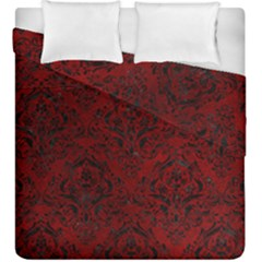 Damask1 Black Marble & Red Grunge Duvet Cover Double Side (king Size) by trendistuff