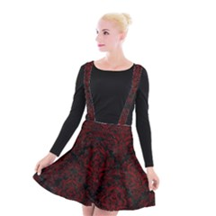 Damask1 Black Marble & Red Grunge (r) Suspender Skater Skirt