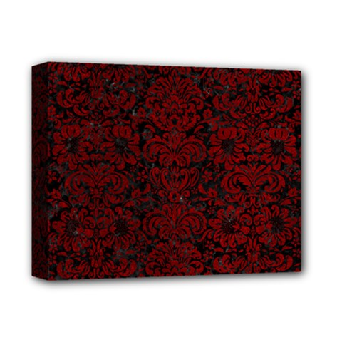 Damask2 Black Marble & Red Grunge (r) Deluxe Canvas 14  X 11  by trendistuff