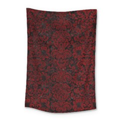 Damask2 Black Marble & Red Grunge (r) Small Tapestry by trendistuff