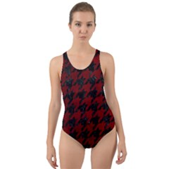 Houndstooth1 Black Marble & Red Grunge Cut Out Back One Piece Swimsuit