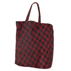 Houndstooth2 Black Marble & Red Grunge Giant Grocery Zipper Tote by trendistuff