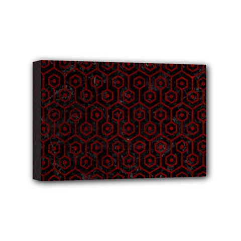 Hexagon1 Black Marble & Red Grunge (r) Mini Canvas 6  X 4  by trendistuff