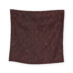 Hexagon1 Black Marble & Red Grunge (r) Square Tapestry (small) by trendistuff