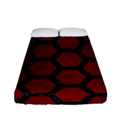 Hexagon2 Black Marble & Red Grunge Fitted Sheet (full/ Double Size) by trendistuff