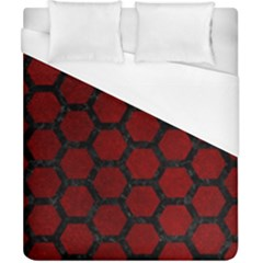 Hexagon2 Black Marble & Red Grunge Duvet Cover (california King Size) by trendistuff