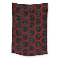 Hexagon2 Black Marble & Red Grunge (r) Large Tapestry by trendistuff