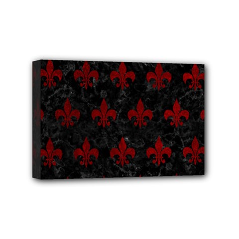 Royal1 Black Marble & Red Grunge Mini Canvas 6  X 4