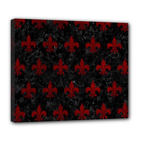 Royal1 Black Marble & Red Grunge Deluxe Canvas 24  X 20   by trendistuff