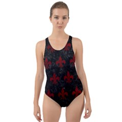 Royal1 Black Marble & Red Grunge Cut Out Back One Piece Swimsuit