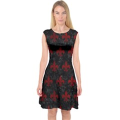 Royal1 Black Marble & Red Grunge Capsleeve Midi Dress