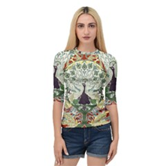 Art Nouveau Peacock Quarter Sleeve Raglan Tee by 8fugoso