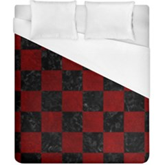 Square1 Black Marble & Red Grunge Duvet Cover (california King Size) by trendistuff
