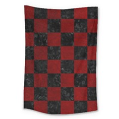 Square1 Black Marble & Red Grunge Large Tapestry by trendistuff