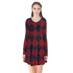 Square2 Black Marble & Red Grunge Flare Dress