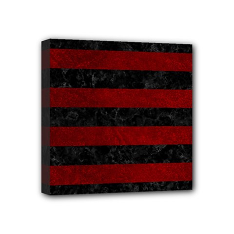 Stripes2 Black Marble & Red Grunge Mini Canvas 4  X 4  by trendistuff