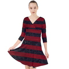 Stripes2 Black Marble & Red Grunge Quarter Sleeve Front Wrap Dress