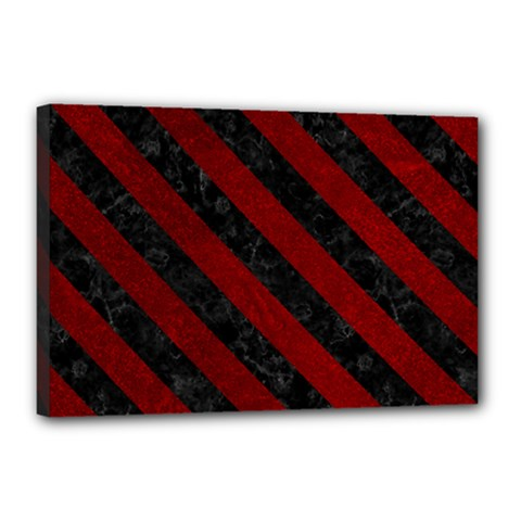 Stripes3 Black Marble & Red Grunge Canvas 18  X 12  by trendistuff