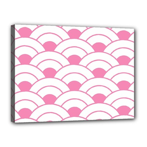 Art Deco Shell Pink White Canvas 16  X 12  by 8fugoso