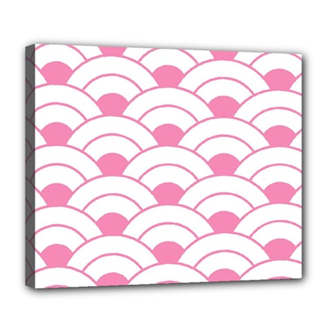 Art Deco Shell Pink White Deluxe Canvas 24  X 20   by 8fugoso