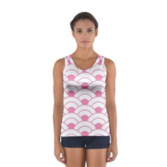 Art Deco Shell Pink White Sport Tank Top  by 8fugoso