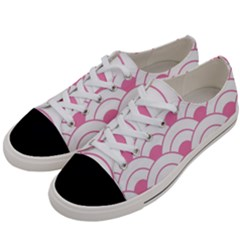Art Deco Shell Pink White Women s Low Top Canvas Sneakers by 8fugoso