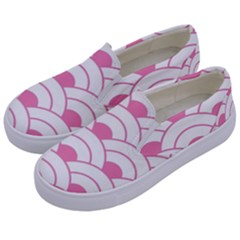 Art Deco Shell Pink White Kids  Canvas Slip Ons by 8fugoso