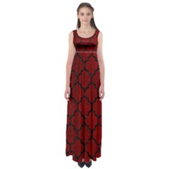 Tile1 Black Marble & Red Grunge Empire Waist Maxi Dress