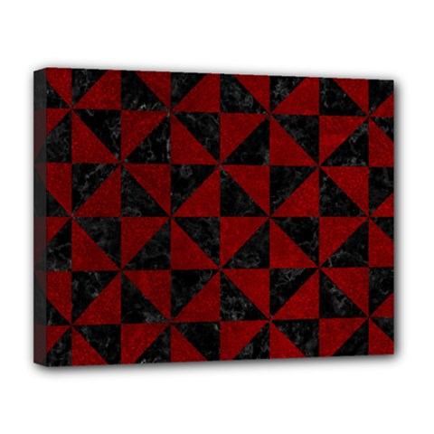 Triangle1 Black Marble & Red Grunge Canvas 14  X 11  by trendistuff