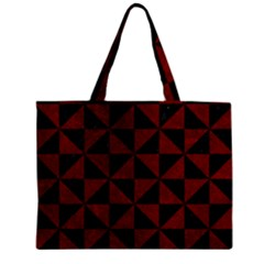 Triangle1 Black Marble & Red Grunge Zipper Mini Tote Bag by trendistuff
