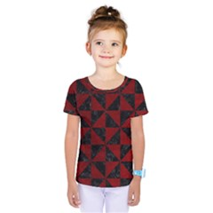 Triangle1 Black Marble & Red Grunge Kids  One Piece Tee