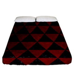 Triangle3 Black Marble & Red Grunge Fitted Sheet (california King Size)