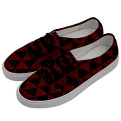 Triangle3 Black Marble & Red Grunge Men s Classic Low Top Sneakers by trendistuff