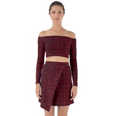 Woven1 Black Marble & Red Grunge Off Shoulder Top With Skirt Set