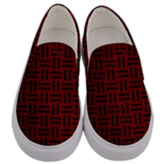 Woven1 Black Marble & Red Grunge Men s Canvas Slip Ons