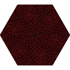 Woven2 Black Marble & Red Grunge (r) Mini Folding Umbrellas by trendistuff